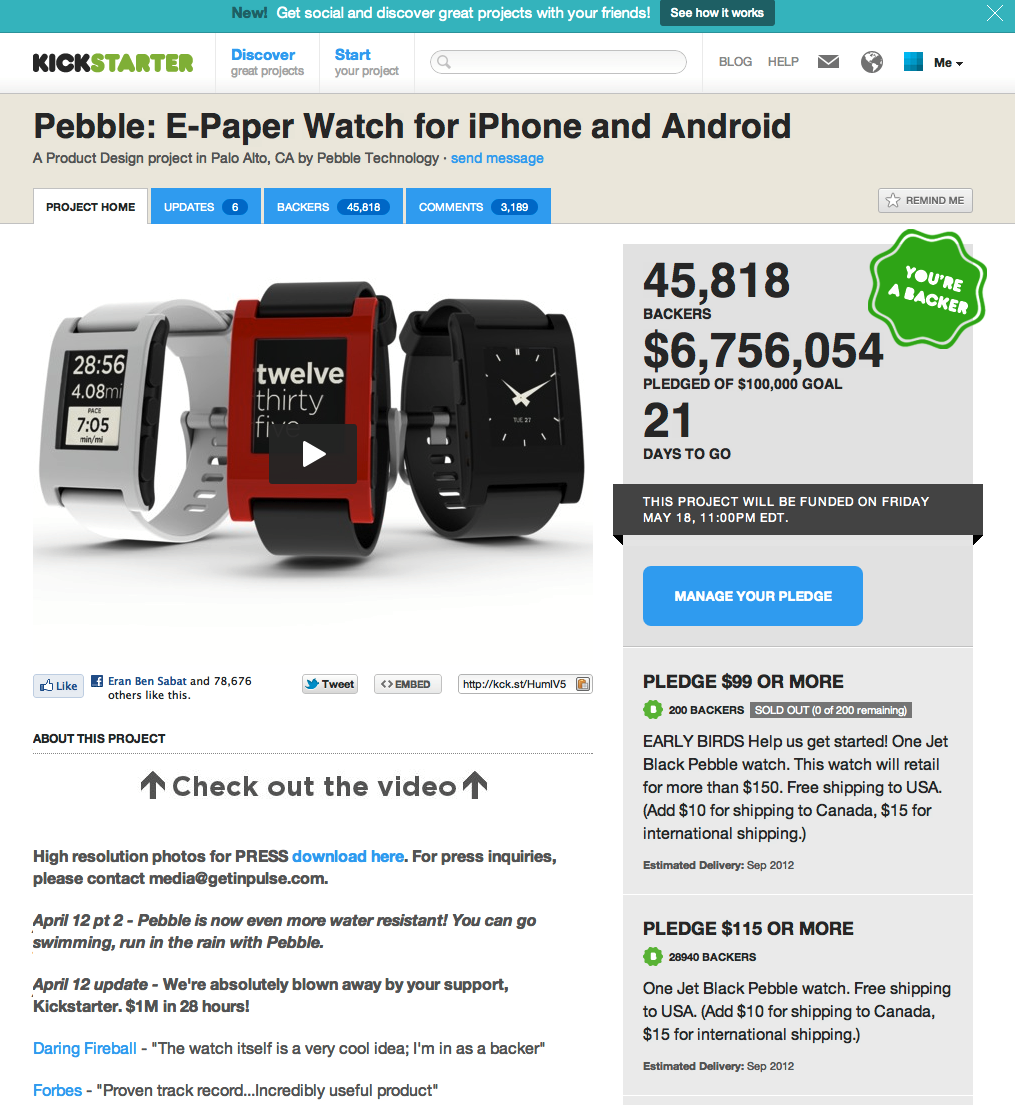 Kickstarter page showing the pebble