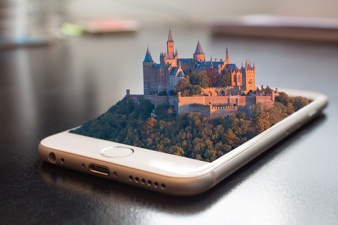 A Smartphone app that shows a castle coming out of it.