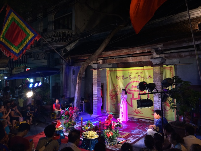 Singer performing in Hanoi Vietnam.